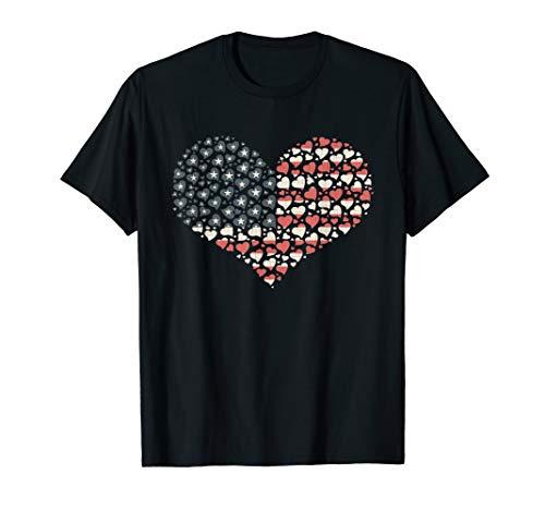 USA Flag Heart T Shirt 4th July Red White Blue Stars Stripes T-Shirt (Country Girl Heart T-shirt)
