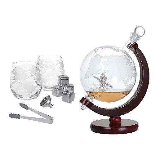 NEX Whiskey Decanter Set, Spirits Liquor Decoration, Etched World Globe Shape Design, Fiberboard Stand, Crafted Glass Flying Airplane, 1500ml Capacity, Ice Tongs, Whiskey Stones, Funnel, Glass Stopper