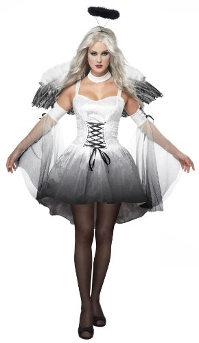 (California Costumes Women's Platium Collection - Angel Of Darkness Adult, White/Black,)