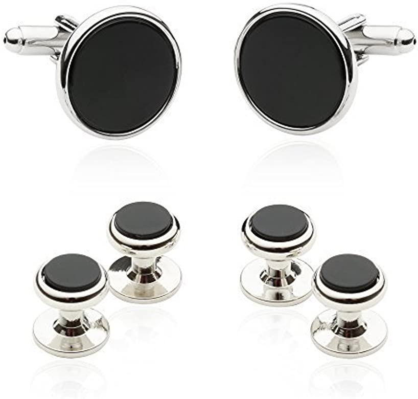 Gemelos plateados negros onix con botones de camisa a juego y caja de presentacion: Amazon.es: Joyería