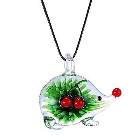 Designer Murano-Inspired Glass - Green Porcupine Hedgehog - Pendant Necklace - Fashion Interchangeable - Green Murano Glass Pendant