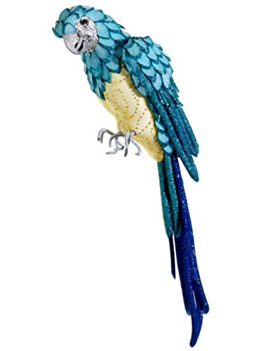 Allstate Life-Size Tropical Paradise Blue and Yellow Parrot Bird with Tail Feathers, 22