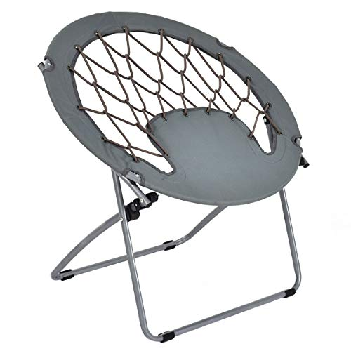 GJH One Folding Round Bungee Chair Steel Frame Patio Camping Outdoor Hiking Garden 31.3