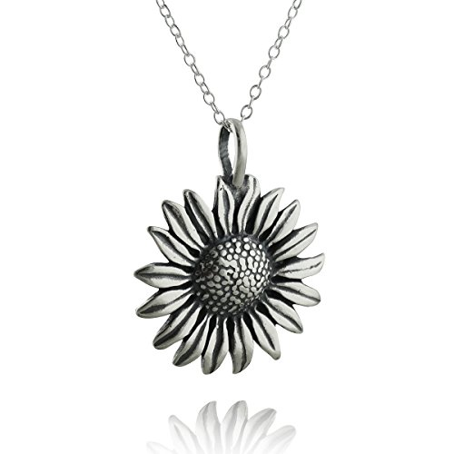 Sterling Silver Sunflower Pendant Necklace, 18