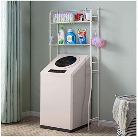 洗濯機棚、多機能浴室洗濯機ラック、バルコニー、炭素鋼洗濯機収納ラック、乾燥ラック、フラワースタンド (Color : White)