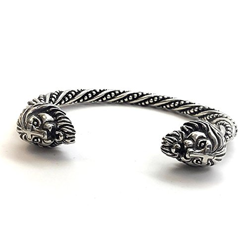 Forgiven Jewelry Asgardian Pewter Style Vikings Lion Head Bangle Bracelet