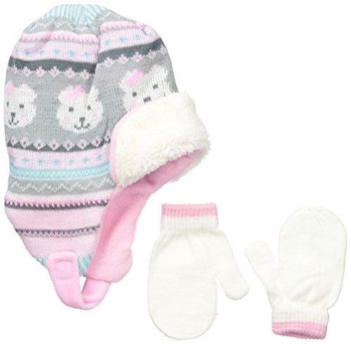 Teddy Bear Knit Pattern (ABG Accessories Little Girls Teddy Bear Helmet and Mitten Set, Multi, One)