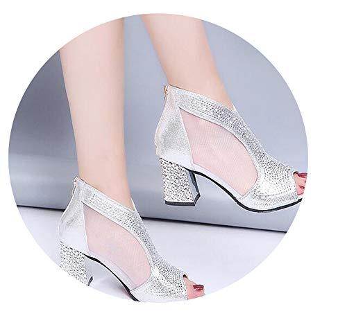 Fashion 2019 Women Sandals Bling 7cm High Heels Diamond Summer Square Heel Women Shoes,Silver,6