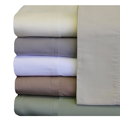Sheets, Silky Soft and Naturally Pure Fabric, 100% Woven Bamboo Viscose Sheet Set, 4PC Set, Queen Size, White ()