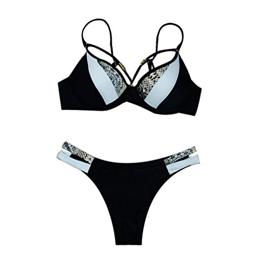 Kimnny Bikini Set, Womens Two Piece Bikini Set Beaded Strappy Bandage Halter Deep V-Neck Underwire Swimsuit Snakeskin Color Block Patchwork Bathing Suit Snake Skin 1 - Beaded Nylon Bikini