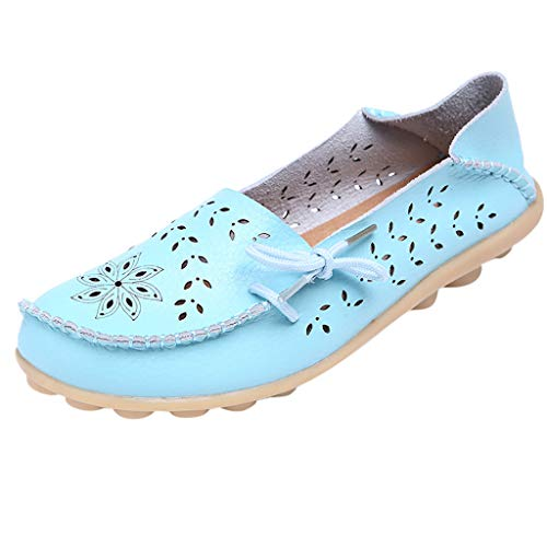 ANJUNIE Mother Casual Hole Slip On Loafers Nurse with Flat Shoes Women's Casual Driving Shoes(Sky Blue,43) ()