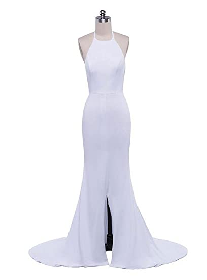 Beauty-Emily Wedding Dresses Ladys White Elegant Split Fashion Mermaid Prom Party Dress White,