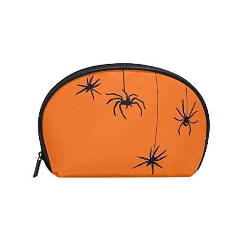 Thomas Eugene Cute Shell Shape Halloween Spiders Pumpkin Color Print Zipper Cosmetic Bag(8 x 2.5 x 5.5 in) ()