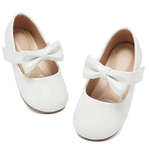 Toddler Shoes Girl's Ballerina Flat Shoes Mary Jane Dress Shoes DNDGZX01,White,23 -