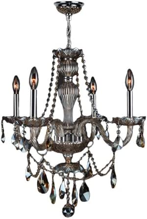 Worldwide Lighting Provence Collection 4 Light Chrome Finish and Golden Teak Crystal Chandelier 23 D x 25 H Medium