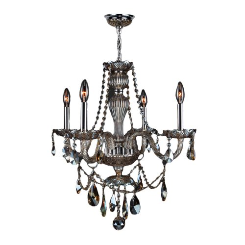 Worldwide Lighting Provence Collection 4 Light Chrome Finish and Golden Teak Crystal Chandelier 23