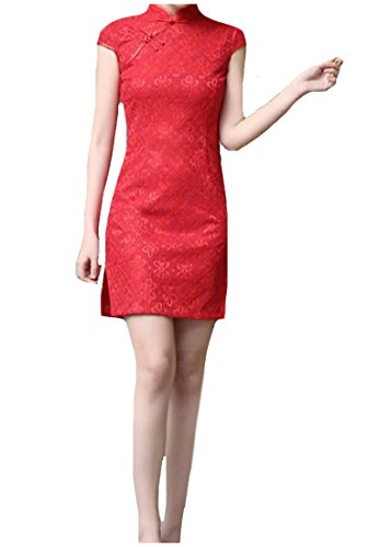 Zimaes Women's Stand Collar Short Sleeve Cheongsam Gown Lace Silm Fit Chinese Style Dresses AS1 Small ()