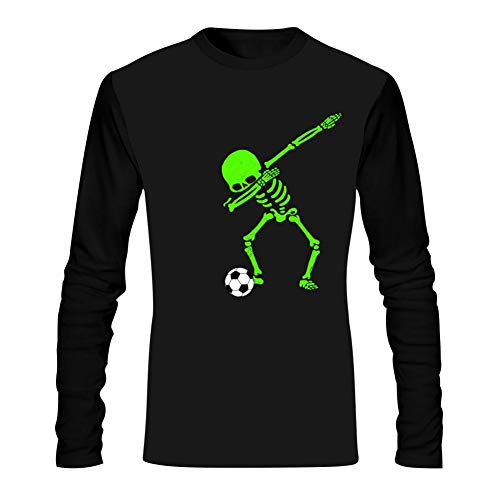 WWWLONG Halloween Skeleton Dab Mens T-Shirt 3D Pattern Printed Casual Long Sleeve T Shirt Comfortable Tee Shirt ()