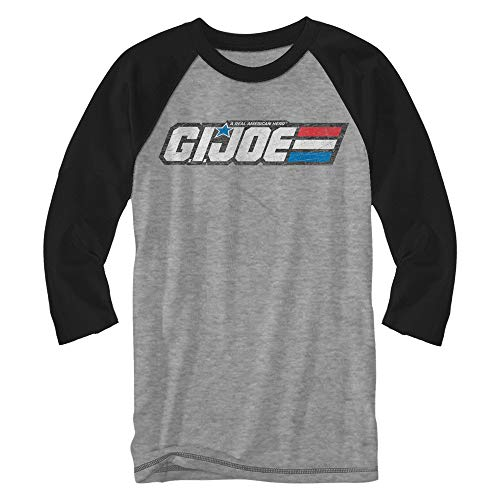 GI Joe Logo Steel Plate Raglan Style 3/4 Length Sleeve Classic Vintage Retro Funny Humor Pun Adult Mens Graphic Shirt Apparel (Heather Grey, XX-Large)