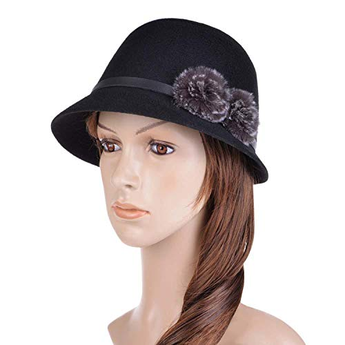 Pie Fur Felt Pork (Women Wide Brim Fedora Hat Wool Pork Pie Flat Top Dome Hat Cloche Faux Fur Pompom Felt Cap Bowler Hat,Black)