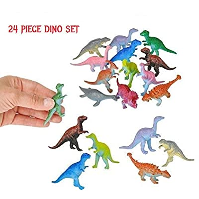 "24-Piece Set of Mini 3"" Plastic Dinosaurs! Assorted Colors & Styles! Great Fundraiser, Party Favor, Carnival Prize!: Toys & Games"