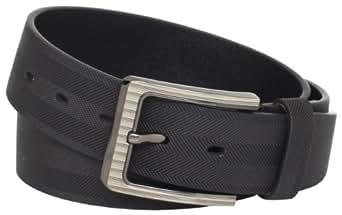 Stacy Adams Men's 38mm Genuine Leather Belt With Herringbone Design, Black, 32