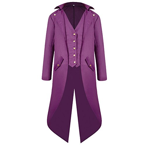 H&ZY Men's Steampunk Vintage Tailcoat Jacket Gothic Victorian Frock Coat Uniform Halloween Costume Purple -