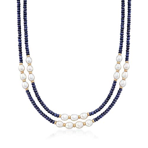 Ross-Simons 4-5mm Sapphire Bead and 7-8mm Cultured Pearl Two-Strand Necklace With 14kt Yellow Gold