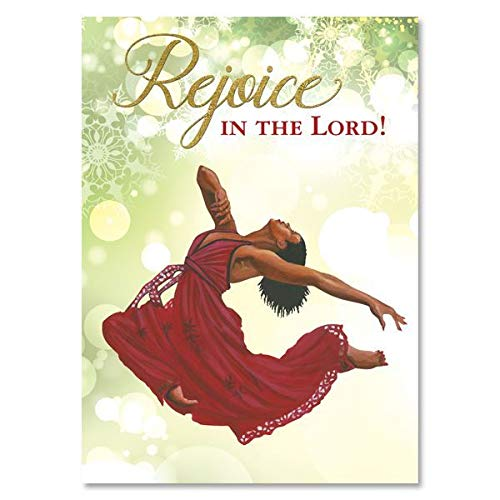 """Search : African American Expressions - Rejoice in the Lord/Red Praise Dancer Boxed Christmas Cards (15 cards, 5"""" x 7"""") C-951"""