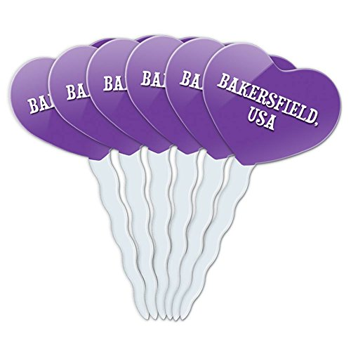 Purple Heart Love Set of 6 Cupcake Picks Toppers Decoration City Country Ba-Bu - Bakersfield (Party City Bakersfield)