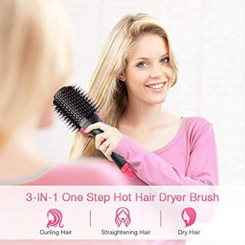 Salon Negative Ion Ceramic Electric Blow Dryer Rotating Straightener Curl Brush AINAAN Hot Air 3-in-1 Hair Styler 2019 Red