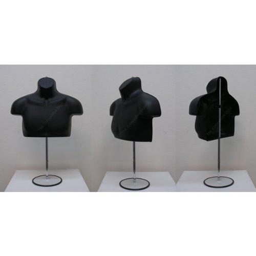 Black Male Upper Torso Mannequin Form W/ Metal Base - Countertop Display