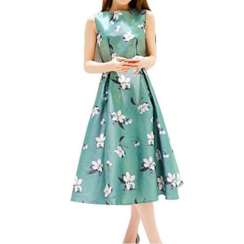 Masun Summer Fashion Cute Women Summer Casual Belt Sleeveless O-Neck Mid-Calf Printing A-Line Dress Evening Dress Green ()