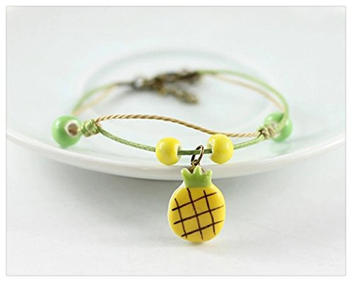 [Happiness Jewelry Handmade Fashion Charm Adjustable Ceramic Fruit Design Porcelain Bracelet] (Pineapple Costume Girl)
