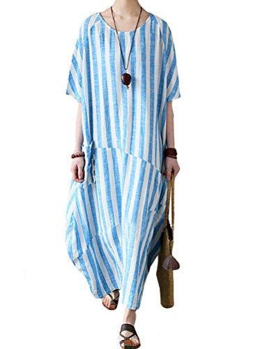 (Mordenmiss Women's Cotton Linen Dress Stripes Plus Size Dresses Style 2 L)