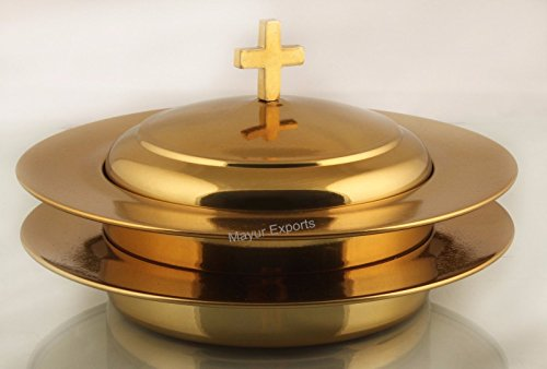 Brasstone- 2 Stainless Steel Communion Stacking Bread Plate with Cover ()