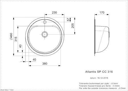 L Edelstahl ohne /Überlauf Sp/ülbecken f/ür medizinischen Bereich ATLANTIS 316 SP CC