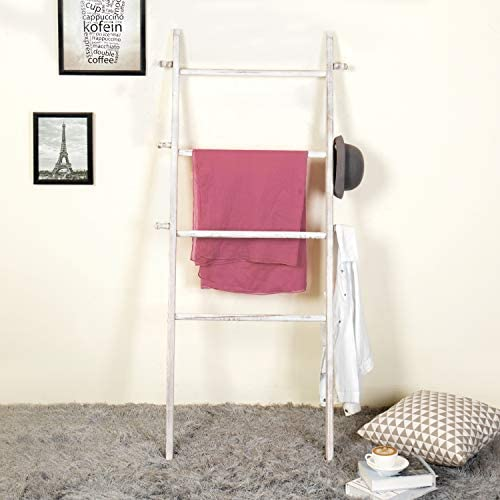 MyGift 5-Foot Wall-Leaning Whitewashed Wood Ladder-Style Wall Rack