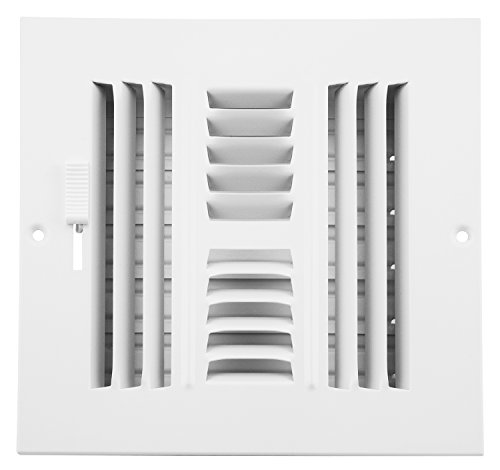 Accord ABSWWH466 Sidewall/Ceiling Register with 4-Way Design, 6-Inch x 6-Inch(Duct Opening Measurements), White