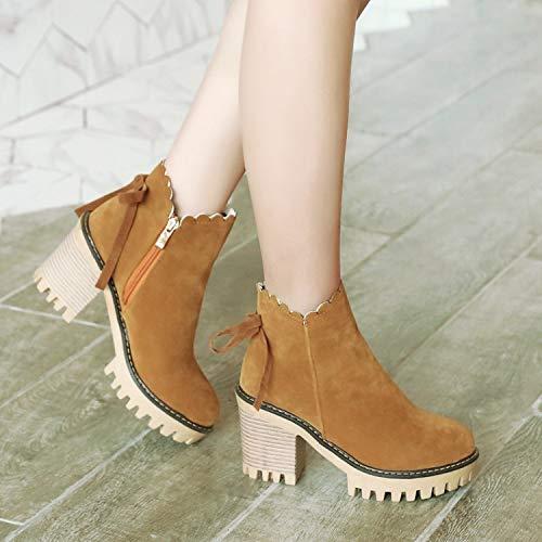 Single Retro Yellow Winter Shukun Booties High Boots Autumn Heel Matte Women's Stivaletti Bow And Shoes Fashion Wild Zipper Martin Side Bq5H7wqr