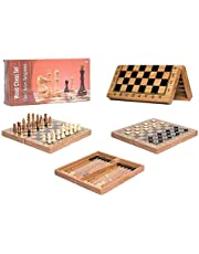 3 in 1 Wooden Board Game Set Compendium Travel Games Chess Backgammon Draughts Entertainment International Chess Set Board