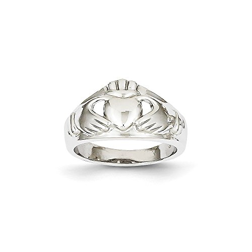 Size 8 - Solid 14k White Gold Ladies Claddagh Ring (20mm)
