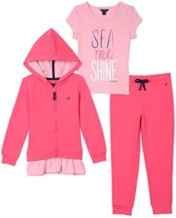Nautica Girls' Hoodie, Knit Top and Fleece Jogger