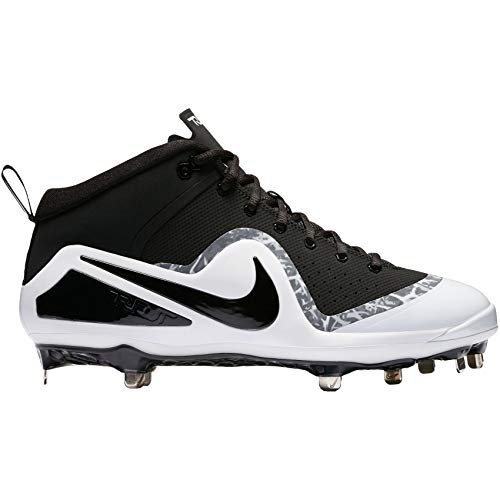 Nike Men's Force Zoom Trout 4 Pro Baseball Cleat (12 M US, Black/Black/White)