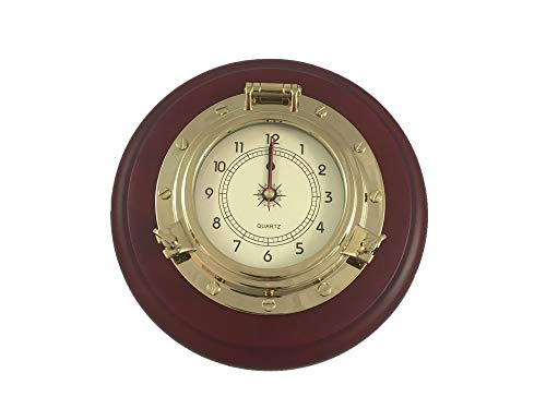 Five Oceans Nautical Porthole Gold Wall Clock with Solid Wood Base Quartz Clock Movement - - Brass Clock Quartz Porthole