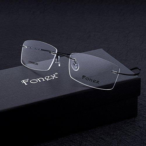 aea74abd2b FONEX Men Memory Titanium Alloy Rimless Optical Glasses Frame Eyewear 10007