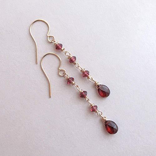Genuine Garnet Long Dangle Earrings, January Birthstone Gift, Dainty Red Gemstone - 14k Gold Filled