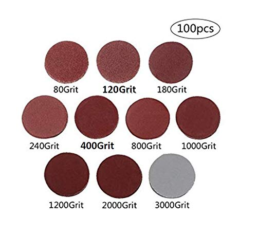100PCS 2 inch Sanding Discs Pad Kit for Drill Grinder Rotary Tools with Backer Plate 1//4 Shank Includes 80-3000 Grit Sandpapers
