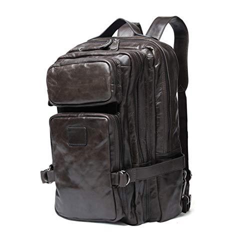 - 100% Wax Genuine Leather Men's Travel Bag Man Backpack Vintage Business Backpack Male School Bags