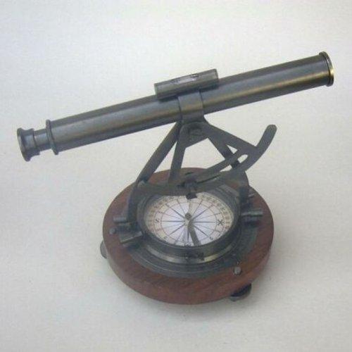 Alidade Theodolite Compass W/ Wooden Base - Replica Table Decor